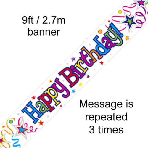 9ft Banner Happy Birthday Ribbons and Stars