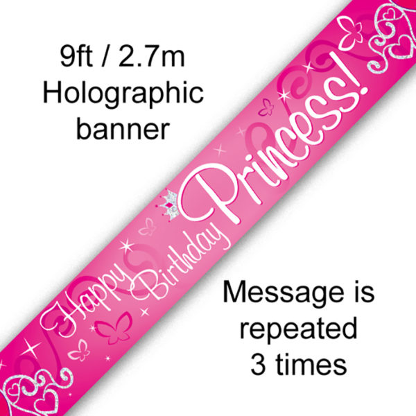 9ft Banner Happy Birthday Princess Holographic
