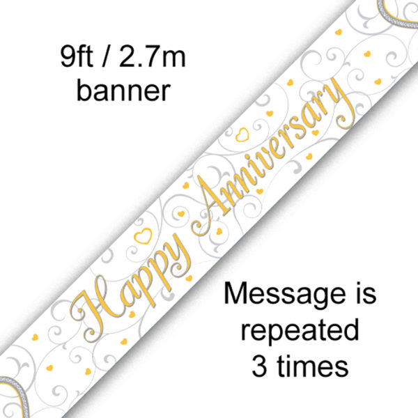 9ft Banner Happy Anniversary Linked Hearts