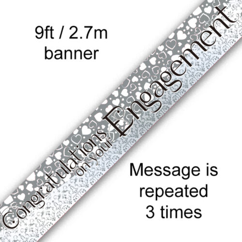 9ft Banner Congratulations on your Engagement - Entwined Heart