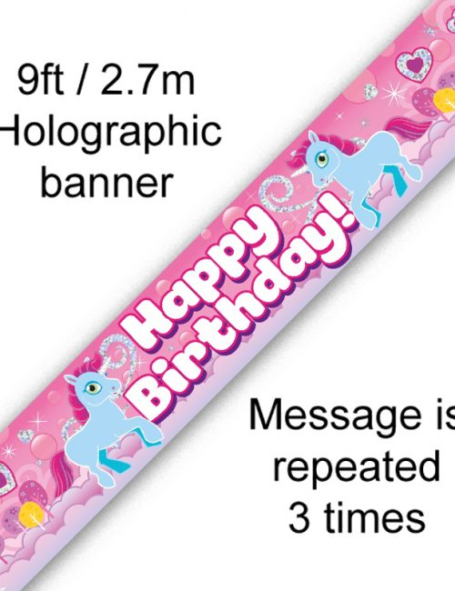 9ft Banner Unicorn Rainbow Birthday
