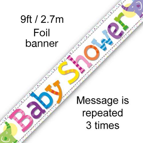 9ft Banner Baby Shower Elephants