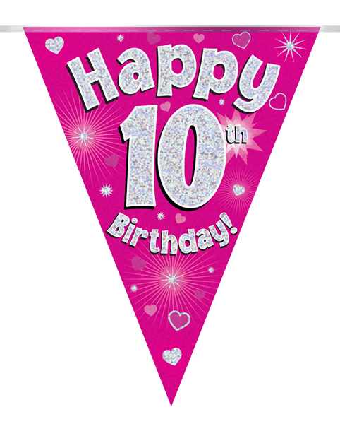 Party Bunting Happy 10th Birthday Pink Holographic 11 flags 3.9m