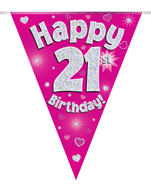 Party Bunting Happy 21st Birthday Pink Holographic 11 flags 3.9m