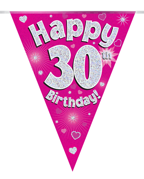 Party Bunting Happy 30th Birthday Pink Holographic 11 flags 3.9m