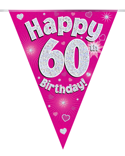 Party Bunting Happy 60th Birthday Pink Holographic 11 flags 3.9m