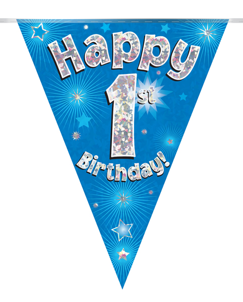 Party Bunting Happy 1st Birthday Blue Holographic 11 flags 3.9m
