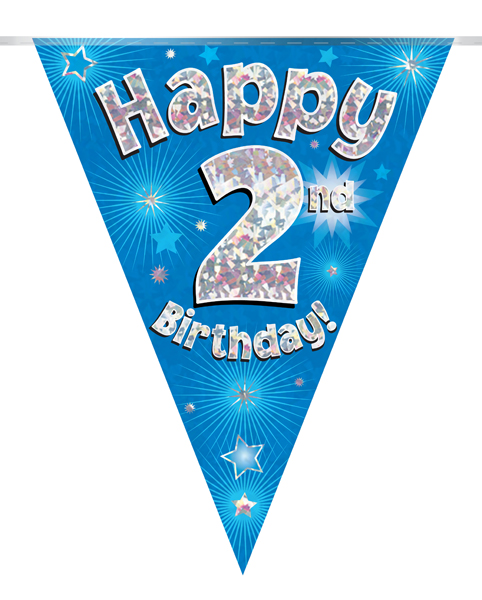 Party Bunting Happy 2nd Birthday Blue Holographic 11 flags 3.9m