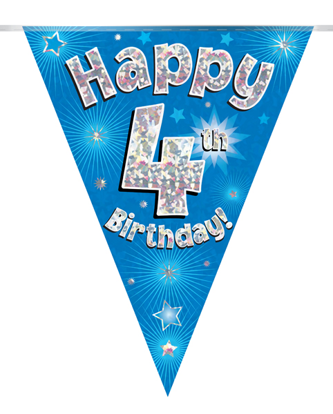 Party Bunting Happy 4th Birthday Blue Holographic 11 flags 3.9m