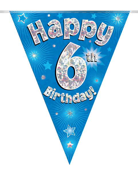 Party Bunting Happy 6th Birthday Blue Holographic 11 flags 3.9m
