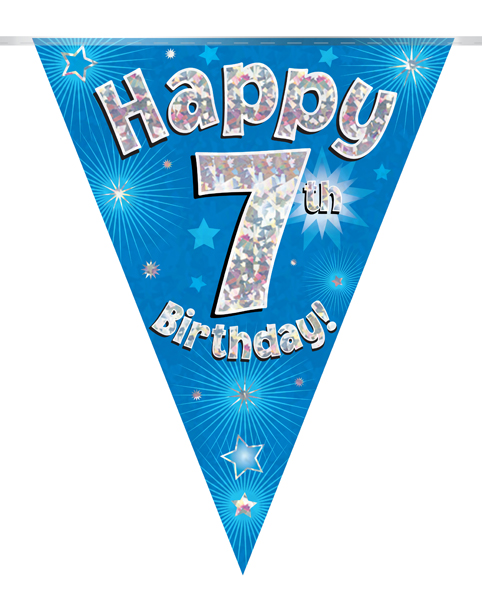 Party Bunting Happy 7th Birthday Blue Holographic 11 flags 3.9m
