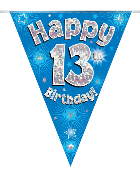 Party Bunting Happy 13th Birthday Blue Holographic 11 flags 3.9m