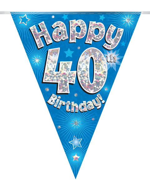 Party Bunting Happy 40th Birthday Blue Holographic 11 flags 3.9m
