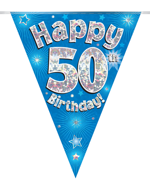 Party Bunting Happy 50th Birthday Blue Holographic 11 flags 3.9m