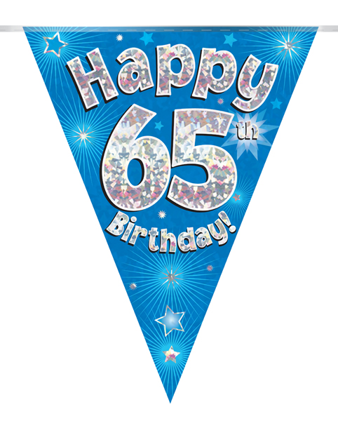 Party Bunting Happy 65th Birthday Blue Holographic 11 flags 3.9m