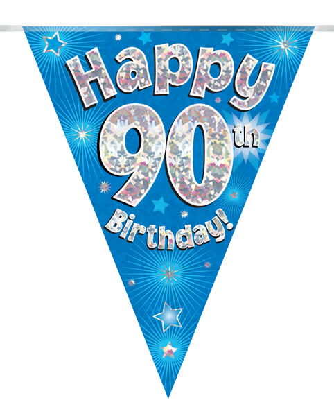 Party Bunting Happy 90th Birthday Blue Holographic 11 flags 3.9m