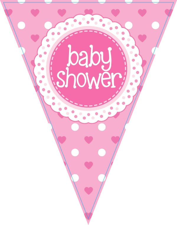 Party Bunting Baby Shower Pink 11 flags 3.9m