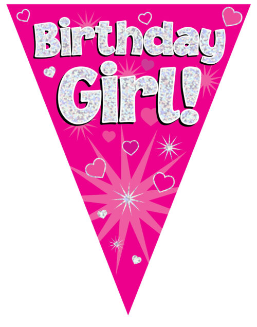 Party Bunting Birthday Girl Pink Holographic 11 flags 3.9m