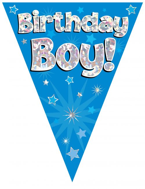Party Bunting Birthday Boy Blue Holographic 11 flags 3.9m