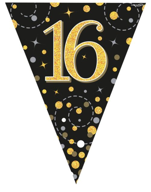 Party Bunting Sparkling Fizz 16 Black & Gold Holographic 11 flags 3.9m