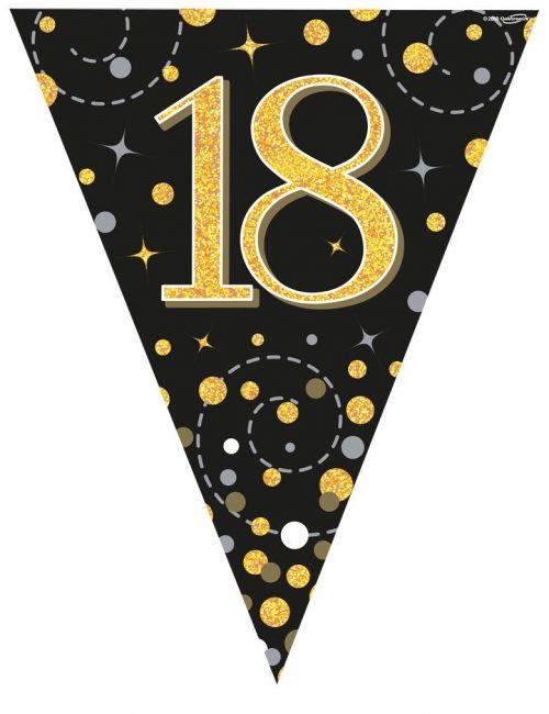 Party Bunting Sparkling Fizz 18 Black & Gold Holographic 11 flags 3.9m