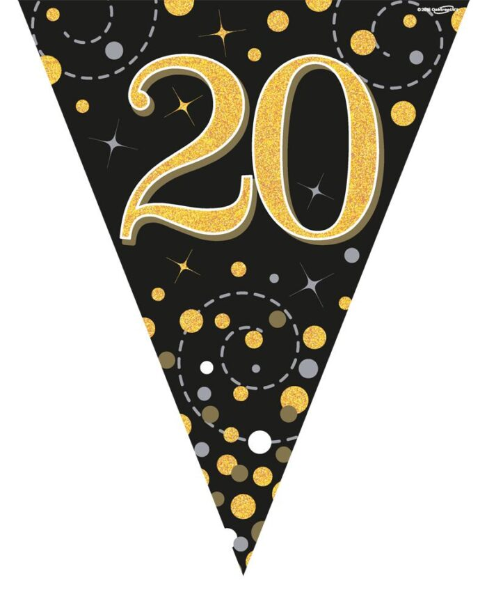 Party Bunting Sparkling Fizz 20 Black & Gold Holographic 11 flags 3.9m