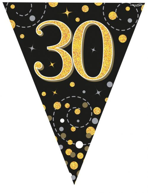 Party Bunting Sparkling Fizz 30 Black & Gold Holographic 11 flags 3.9m