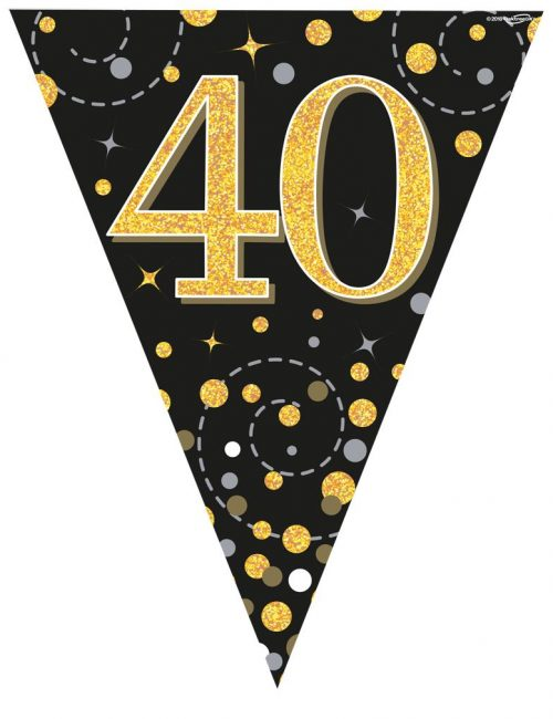 Party Bunting Sparkling Fizz 40 Black & Gold Holographic 11 flags 3.9m
