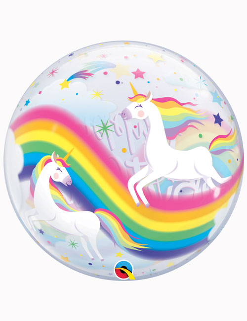 "22"" Bubble Birthday Rainbow Unicorns"