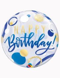 "22"" Bubble Birthday Blue & Gold Dots"