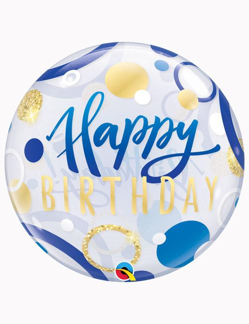 "22"" Bubble Birthday Blue & Gold Dots"