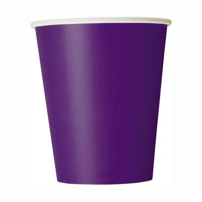 9oz Paper Cups x 8 Deep Purple