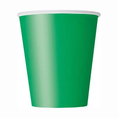 9oz Paper Cups x 8 Emerald Green