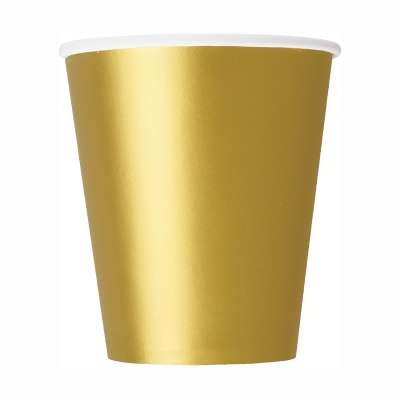9oz Paper Cups x 8 Gold