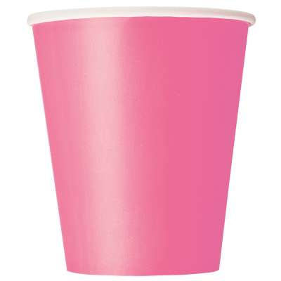 9oz Paper Cups x 8 Hot Pink