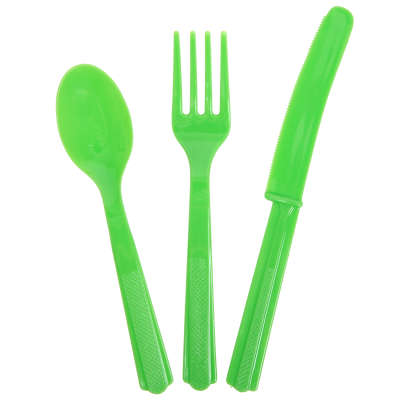 Cutlery x 18 Pieces Lime Green