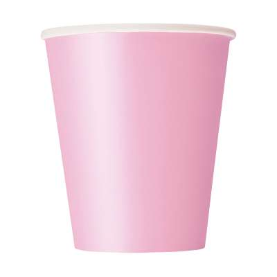 9oz Paper Cups x 8 Lovely Pink