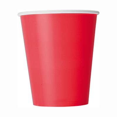 9oz Paper Cups x 8 Ruby Red