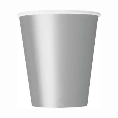 9oz Paper Cups x 8 Silver
