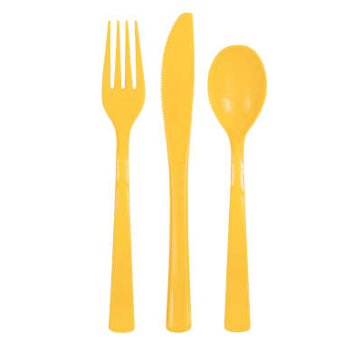 Cutlery x 18 Pieces Sunflower Yellow