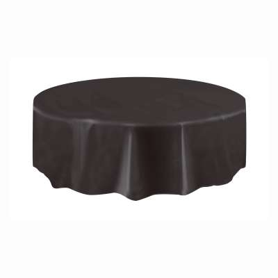 "Solid Round Plastic Table Cover 84"" Black"