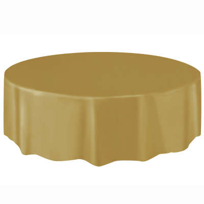 "Solid Round Plastic Table Cover 84"" Gold"