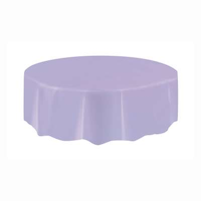 "Solid Round Plastic Table Cover 84"" Lavender"