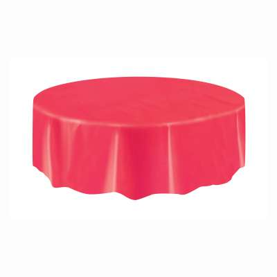 "Solid Round Plastic Table Cover 84"" Red"