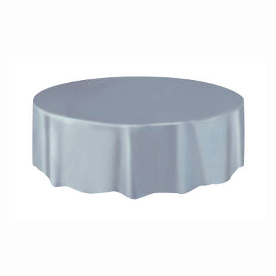 "Solid Round Plastic Table Cover 84"" Silver"