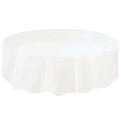 "Solid Round Plastic Table Cover 84"" White"