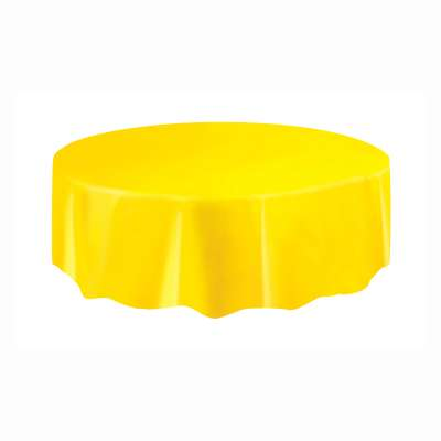 "Solid Round Plastic Table Cover 84"" Sunflower Yellow"