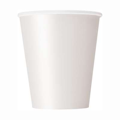 9oz Paper Cups x 8 White