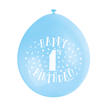 "9"" Blue Assortment Happy 1st Birthday Latex Balloons (Pack 10)"