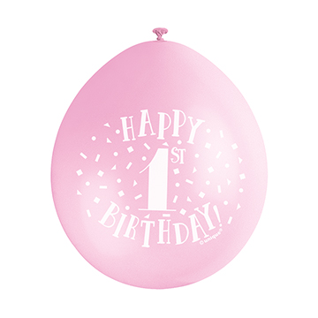 "9"" Pink Assortment Happy 1st Birthday Latex Balloons (Pack 10)"